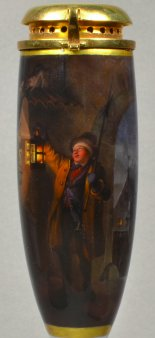 Johann Geyer (1807-1875), Der erschrockene Nachtwächter, Porzellanmalerei, Pfeifenkopf, D1819