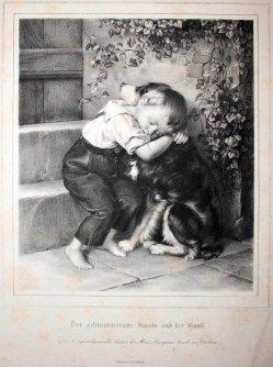 Dieter, Der schlummernde Knabe und der Hund, Lithographie nach Schütze, D1837