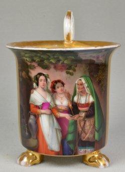 """Konstantin Johann Franz Cretius (1814-1901), """"Die Wahrsagerin"""", Porzellanmalerei, Tasse, D1853"""