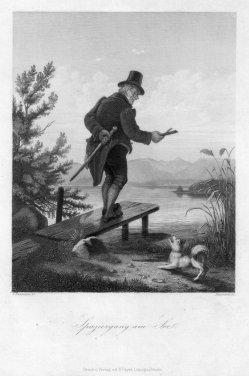 Adolf Baumann (1829-1865), Spaziergang am See, Stahlstich nach C. Naumann, D2293-6