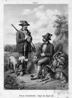 August Dircks (1806-1871), Frische Septemberlust – Jäger zum Jagen ruft, Lithographie nach L. Beckmann, D1801