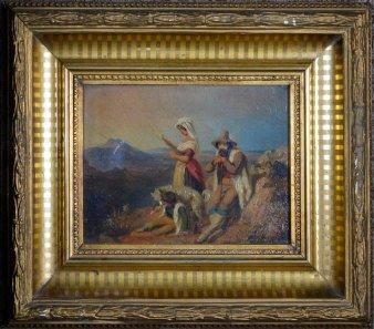 Carl Constantin Heinrich Steffeck (1818-1890), Ölzkizze, Italienische Hirtenfamilie, D2292