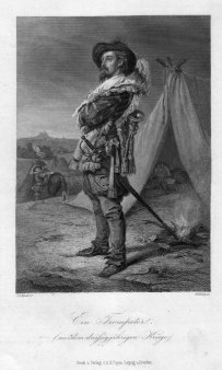 Georg Goldberg (1830-1894), Ein Trompeter aus dem dreißigjährigen Kriege, Stahlstich nach J.L.Raab, D2293-7
