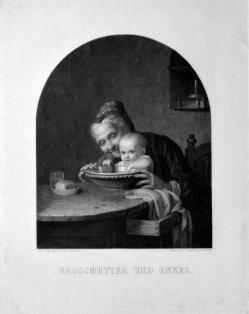 Hermann Sagert (1822-1889), Großmutter und Enkel, Lithographie nach Meyer von Bremen, D2286-1