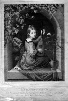 Johann Georg Schreiner (1828-nach 1870), Die Lautenspielerin, Lithographie nach A. Schmidt, D2286-2