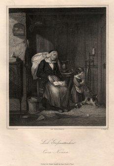 Johann Leonhard Raab (1825-1899), Lieb Großmütterchen, Stahlstich nach C. Schleisner, D1264