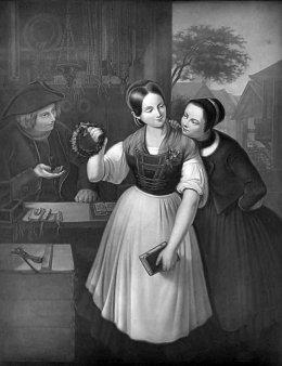 KPM 266 – Baierische Bauernmädchen, einen Brautkranz auswählend, nach Esperstedt