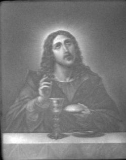 KPM 91 -  Christus mit dem Abendmahlskelch, Brustbild, nach Dolci
