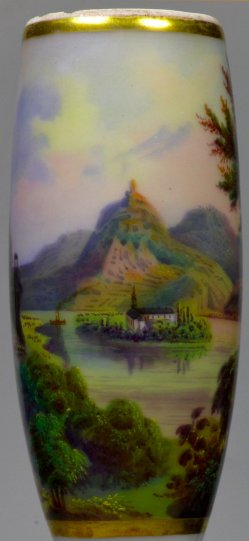Rhein, Kloster Nonnenwerth und Drachenfels, Porzellanmalerei, Pfeifenkopf, D2284