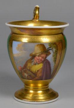 Adriaen van Ostade (1610-1685), Der Drehleiermusiker, Porzellanmalerei, Tasse, D2327