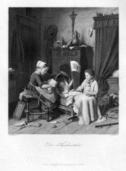 Carl Johann Koch (1806-1900), Die Kinderstube, Stahlstich nach Wilhelmi, D2332-9