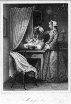 Eduard Schuler (1806-1882), Mutterfreuden, Stahlstich gemalt und gestochen von Schuler, D2333-10