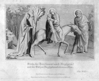 Franz Paul Massau (1818-1900), Siehe, der Herr kommt nach Ägypten!, Stahlstich nach L. Moaco, D2330-4