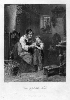 A. Simon, Eine gefährliche Wunde, Stahlstich nach Moeselagen, D2332-3
