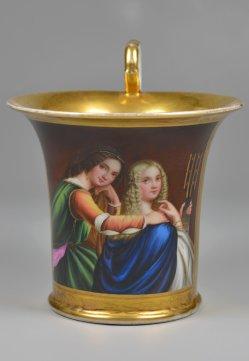 Freundinnen, Porzellanmalerei, Tasse, D2308
