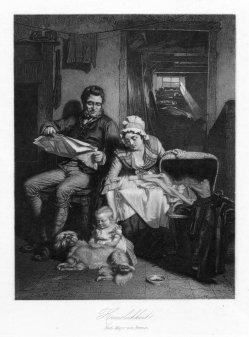 Häuslichkeit, Lithographie nach Meyer von Bremen, D1688-4