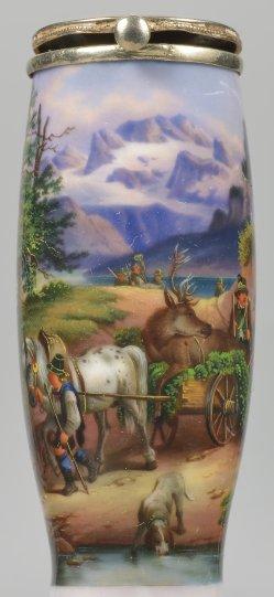 Idylle im Hochgebirge, Porzellanmalerei, Pfeifenkopf, D2307