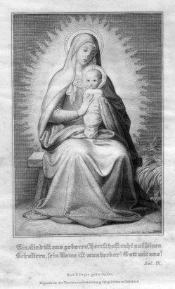 Tamme Weyert Theodor Janssen (1816-1894), Ein Kind ist uns geboren, Stahlstich nach E. Deger, D2330-2