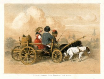 Theodor Hosemann (1807-1875), Ausfahrt in Hundekutsche, Farblithographie 1842, D2314