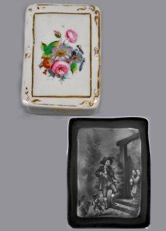 Zündhholzdose aus Porzellan mit Lithophanie, D2312