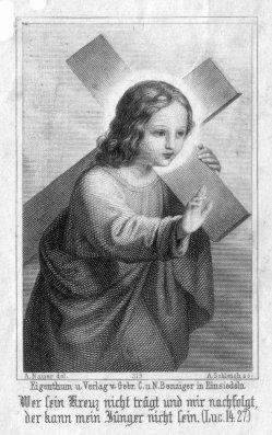 Adrian Schleich (1812-1894), Wer sein Kreuz nicht trägt, Stahlstich als Andachtsbild nach A. Nauer, D2347-35