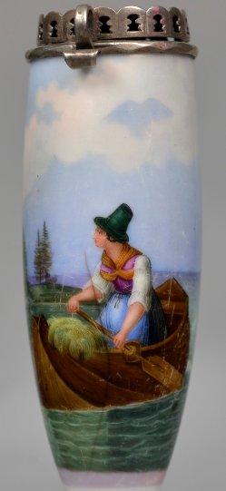 August Anton Tischbein (1805 – 1867), Die Heimfahrt, Porzellanmalerei, Pfeifenkopf, D2340