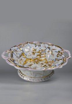 Biedermeier Obstkorb aus Porzellan, D2372