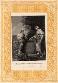 Carl Ferdinand Mayer (1798-1868), Jesus und die Samariterin am Brunnen, Stahlstich nach A. Carracci, D2347-20