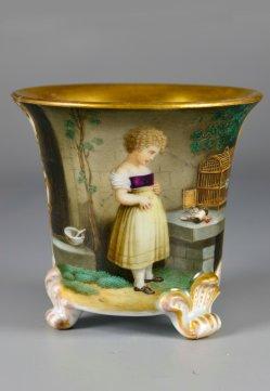 Der erste Kummer, Porzellanmalerei nach Schuler, Tasse, D2382