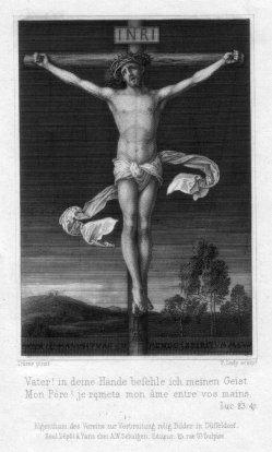 Friedrich August Ludy (1823-1890), Christus am Kreuz, Andachtsbild als Stahlstich nach Dürer, D2347-14