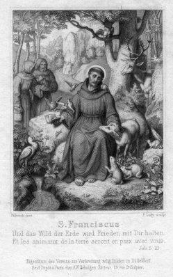 Friedrich August Ludy (1823-1890), S. Franciscus, Stahlstich als Andachtsbild nach v. Friedrich, D2347-19