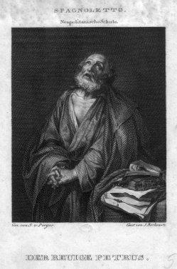 J. Berkowetz, Der reuige Petrus, Kupferstich nach Ribera und Perger, D2347-15