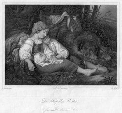 J.L.Appold, Die schlafenden Kinder, Stahlstich nach F.v.Amerling, D2365-3