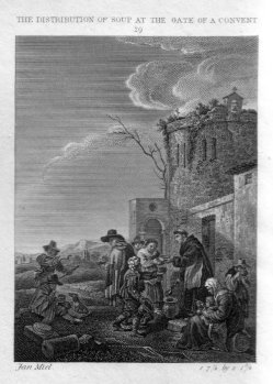 Ja. Neagle, The Distribution of Soup at the Gate of a Convent, Kupferstich nach Miel und Craig, D2386-1-29