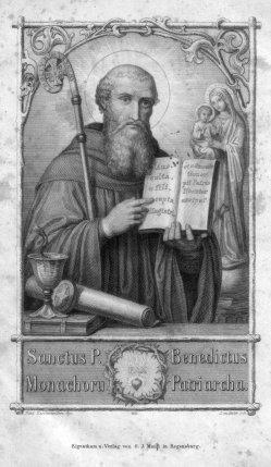 Joseph Leudner (1813-1853), Sanctus Benecictus, Stahlstich  nach von Deschwanden, D2347-28
