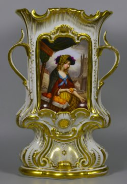 Pariser Orangenverkäuferin, Porzellanmalerei, Vase, D2370