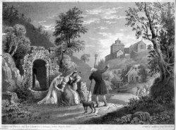 Robert Jacob Hamerton (um 1810-1904), Der Weg in´s Kloster, Lithographie, D2386-10