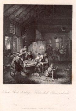 A. Carse, Holländische Bauernschenke, Stahlstich nach A.van Ostade, D2390-6
