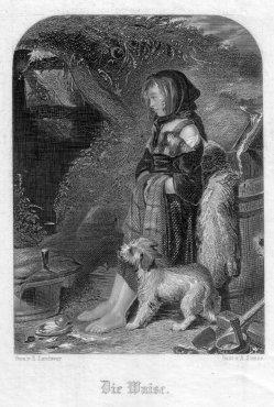 A. Simon, Die Waise, Stahlstich nach E. Landseer, D2405-2