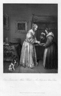 Albert Henry Payne (1812-1902), Eine Dame im Atlas-Kleid, Stahlstich nach G. Terborg, D2393-2