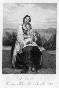 Friedrich Wagner (1803-1876), Die Sizilianische Mutter, Stahlstich nach Riedel, D2393-12