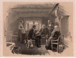 Großvater tröstet den Enkel, Lithographie, D2390-5