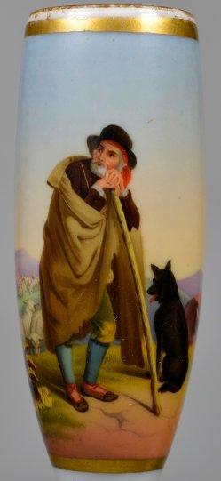 Italienischer Hirte mit Hund, Porzellanmalerei, Pfeifenkopf, D2397