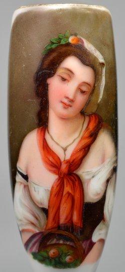 Junge Römerin mit Blumenkorb, Porzellanmalerei, Pfeifenkopf, D2394