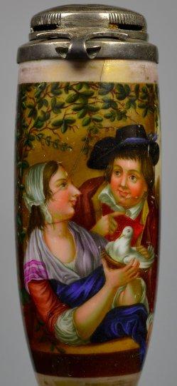 Jungfräuliche Liebesanbahnung, Porzellanmalerei, Pfeifenkopf, D2396