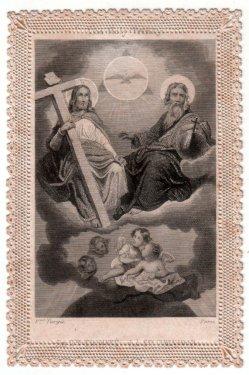 Spitzenbild, Andachtsbild, Heilige Dreifaltigkeit, Stahlstich, D2391-1