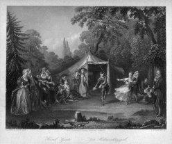 Thomas Heawood (1810-1870), Das Hahnenschlagspiel, Stahlstich nach D. Chodowiecki, D2392-1