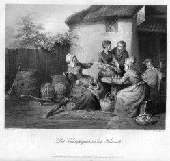 William French (1815 - 1898), Der Champagner in der Heimat, Stahlstich nach de Bruycker, D1277