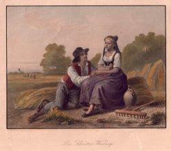 William French (1815 - 1898), Des Schnitters Werbung, altkolorierter Stahlstich nach H. Werner, D2378-4