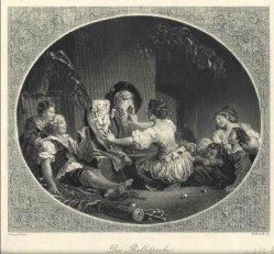 William French (1815-1898), Die Balletprobe, Stahlstich nach Fragonard, D2408